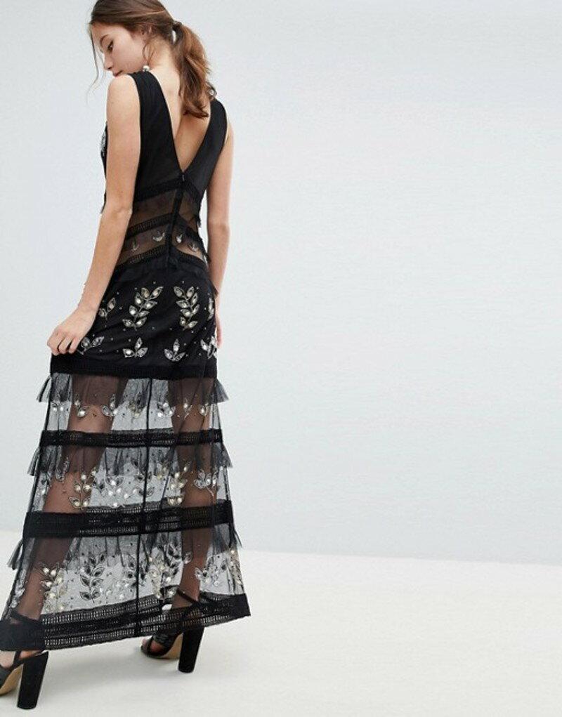 ミスセルフフリッジ レディース ワンピース トップス Miss Selfridge tiered maxi dress with lace detail in black Black
