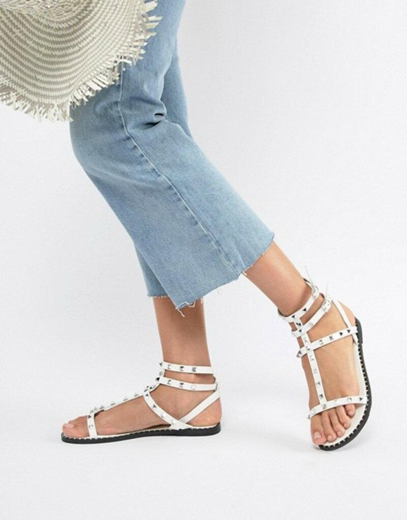 キューピッド レディース サンダル シューズ QUPID Studded Flat Sandals White