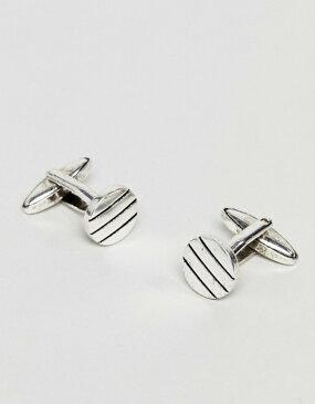アイコンブランド メンズ カフスボタン アクセサリー Icon Brand antique silver cufflinks with pinstripe detail Silver
