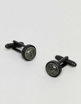 アイコンブランド メンズ カフスボタン アクセサリー Icon Brand Premium black cufflinks with pyrite set stones Black