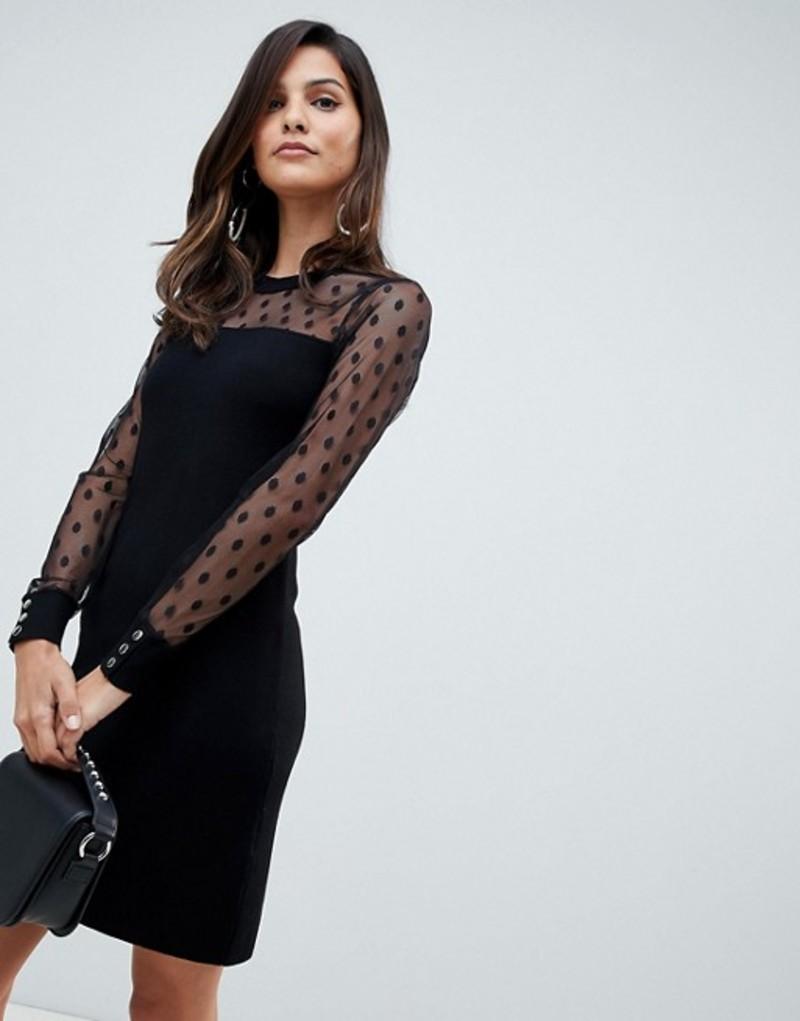 レディースファッション, ワンピース  Morgan pencil dress with dotty mesh sleeves in black Black