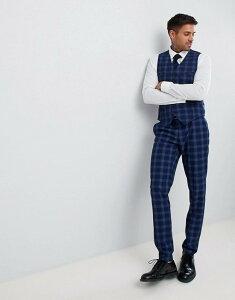 エイソス メンズ タンクトップ トップス ASOS DESIGN wedding skinny suit vest in tonal blue check Blue