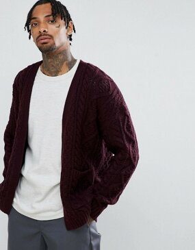 エイソス メンズ カーディガン アウター ASOS DESIGN heavyweight cable knit cardigan in burgundy Burgundy