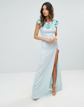 クラブエル レディース ワンピース トップス Club L Crepe Detail Maxi Dress With Floral Corsage Halogen blue