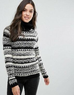 ブレーブソウル レディース ニット・セーター アウター Brave Soul Osha Roll Neck Stripe Sweater Black with cream