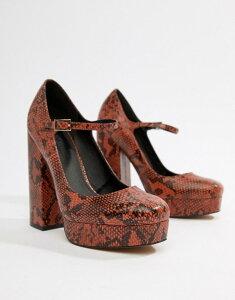 エイソス レディース ヒール シューズ ASOS DESIGN Positive platform heels in snake Conker snake