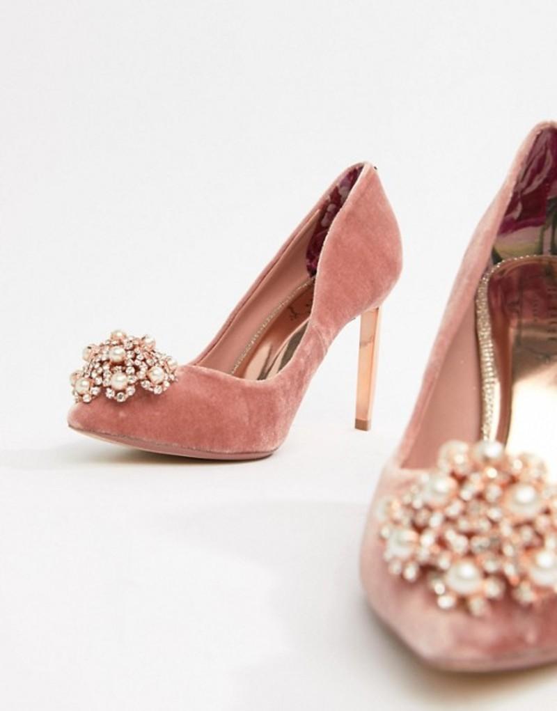 テッドベーカー レディース ヒール シューズ Ted Baker Pink Velvet Embellished Heeled Pumps Blush