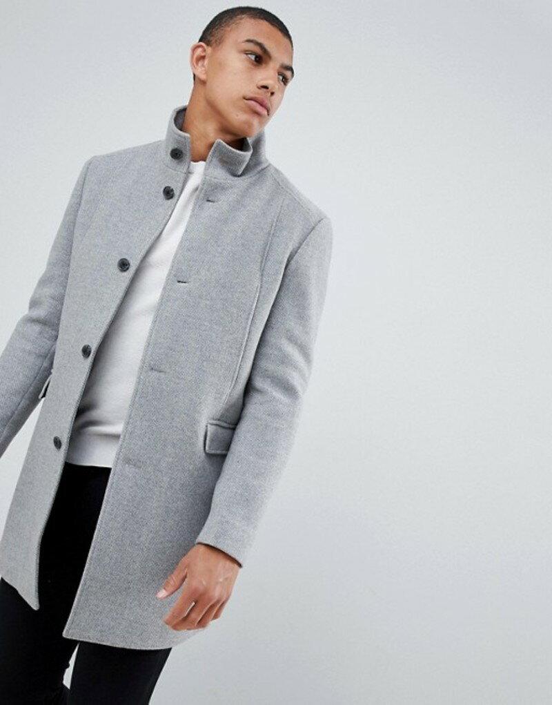 メンズファッション, コート・ジャケット  Selected Homme recycled wool overcoat with funnel neck Medium grey melange