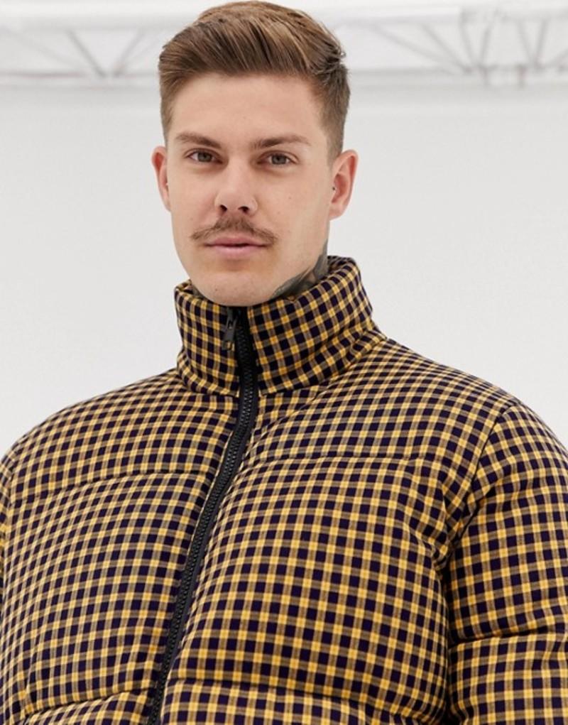 エイソス メンズ ジャケット・ブルゾン アウター ASOS DESIGN puffer jacket with mini check in yellow Yellow