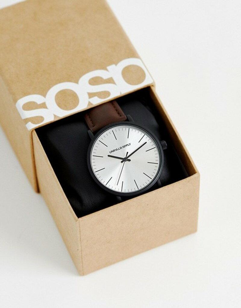 エイソス メンズ 腕時計 アクセサリー ASOS DESIGN watch in brown with matte black case Brown