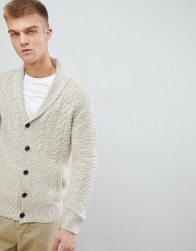エスプリ メンズ カーディガン アウター Esprit cable knit cardigan in twisted yarn Stone