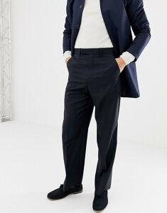 エイソス メンズ カジュアルパンツ ボトムス ASOS DESIGN wide leg smart pants in navy 100% wool Navy