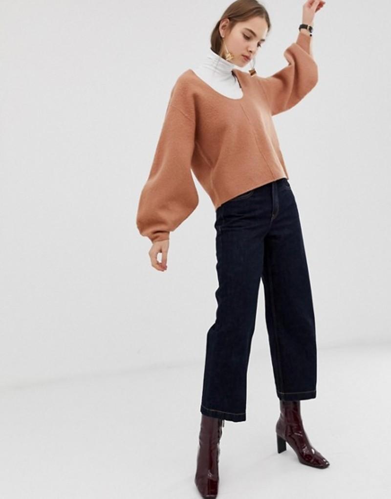 エイソス レディース ニット・セーター アウター ASOS WHITE boiled wool banana sleeve knit sweater Camel