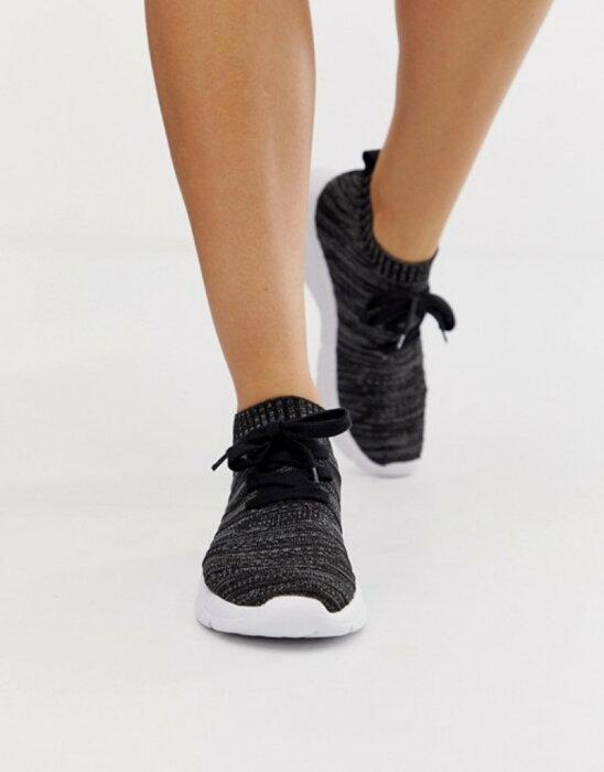 エイソス レディース スニーカー シューズ ASOS DESIGN Wide Fit Discus sneakers Black/grey knit