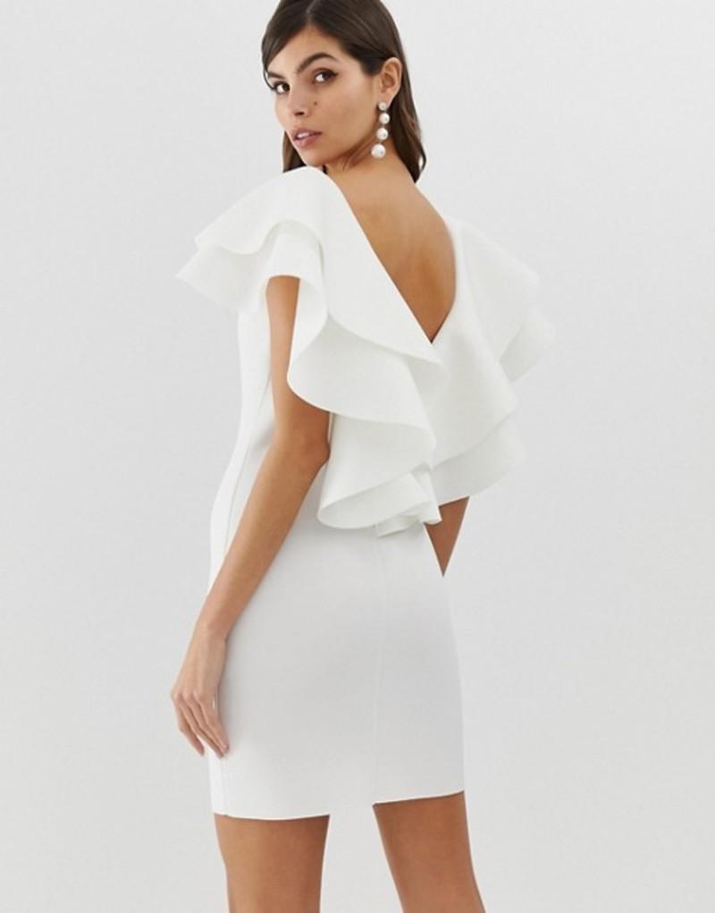 レディースファッション, ワンピース  ASOS DESIGN open back mini dress with double ruffle Cream