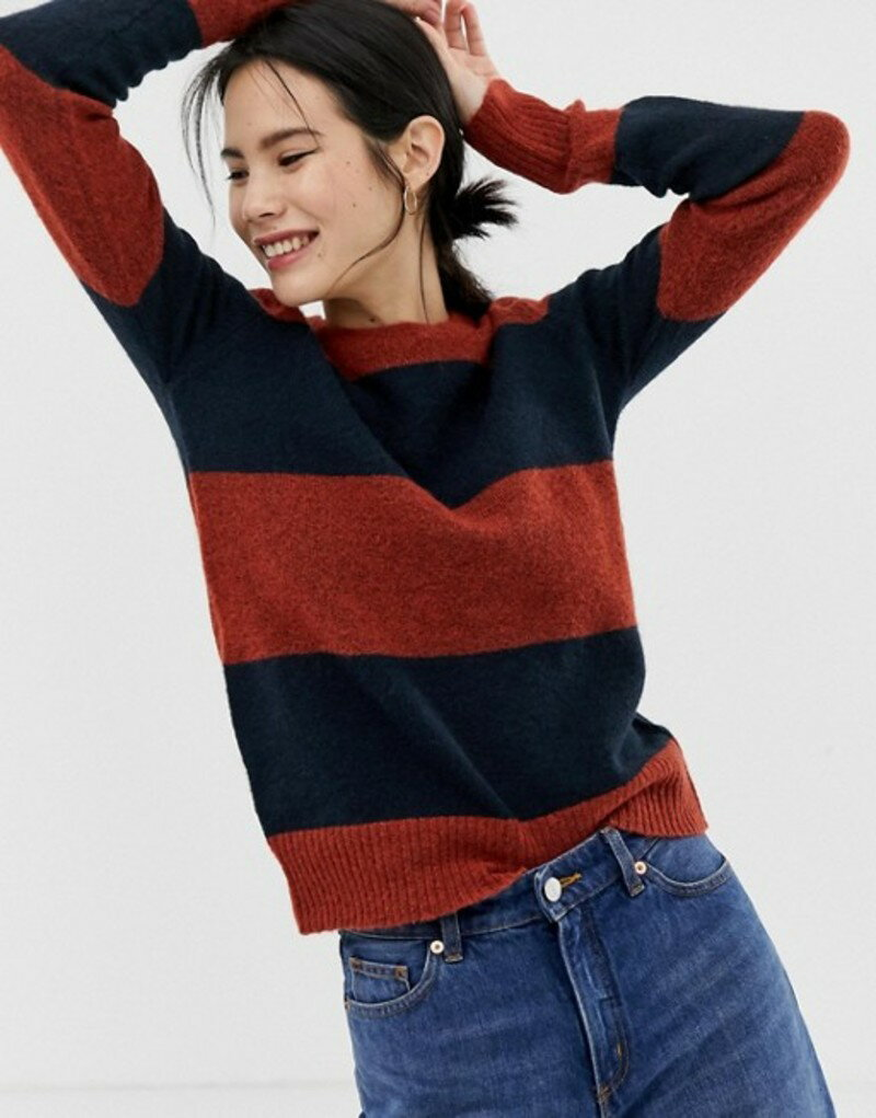 イチ レディース ニット・セーター アウター Ichi Stripe Sweater Red ochre