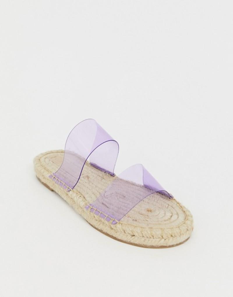 エイソス レディース サンダル シューズ ASOS DESIGN Jetty clear espadrille mules Lilac