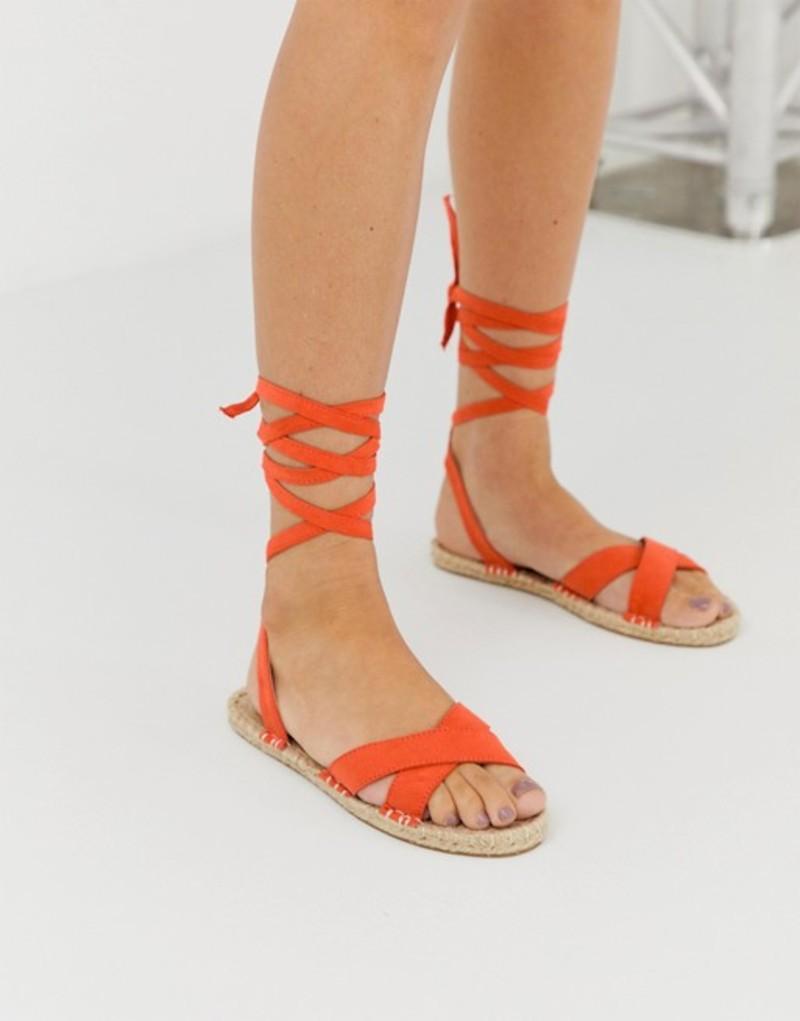 エイソス レディース サンダル シューズ ASOS DESIGN Jala espadrille flat sandals in orange Orange