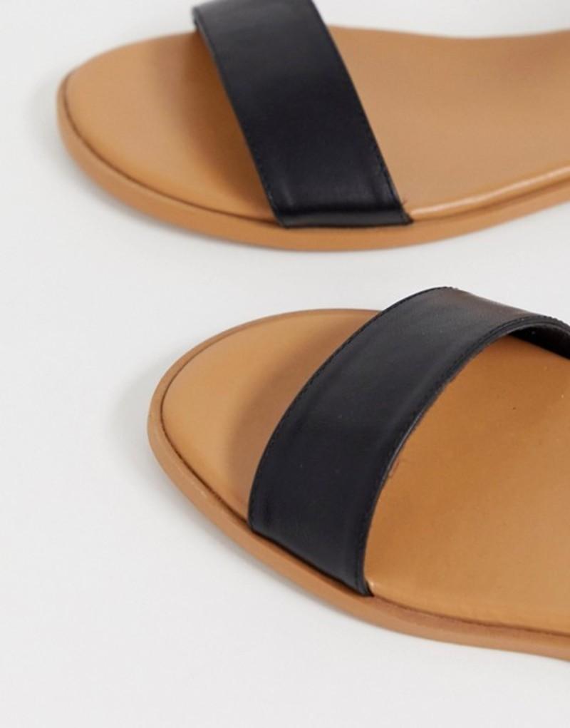 エイソス レディース サンダル シューズ ASOS DESIGN Wide Fit Viva flat sandals Black
