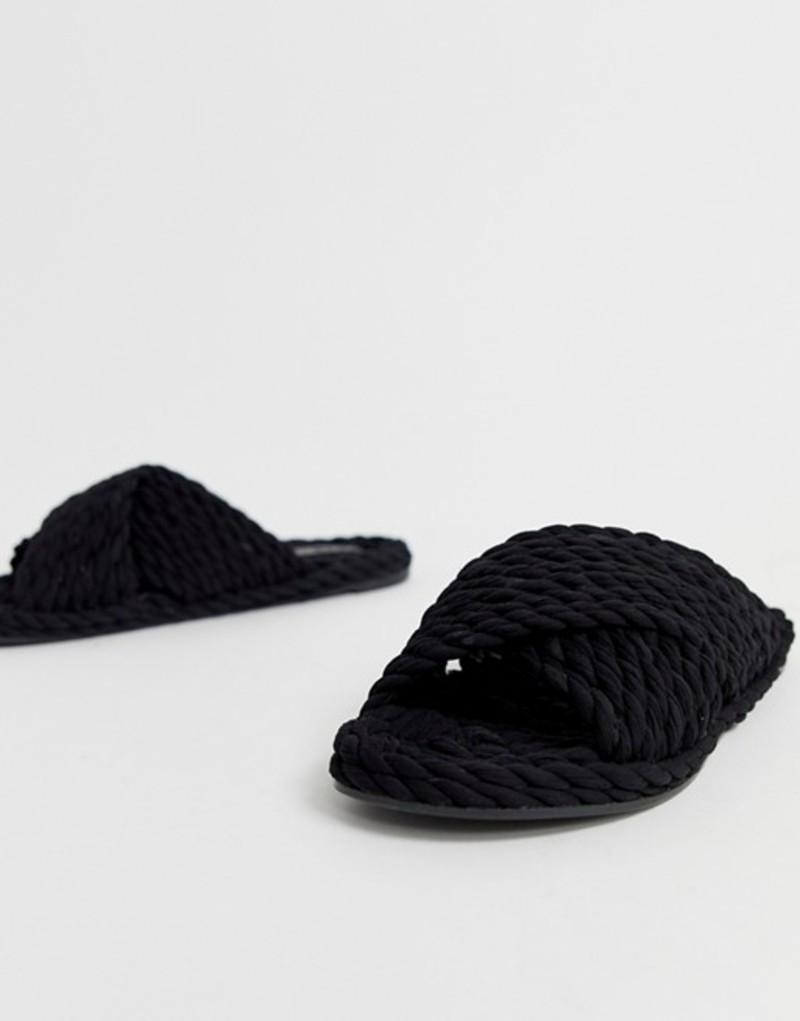 エイソス レディース サンダル シューズ ASOS DESIGN Fin premium cross strap rope sliders in black Black
