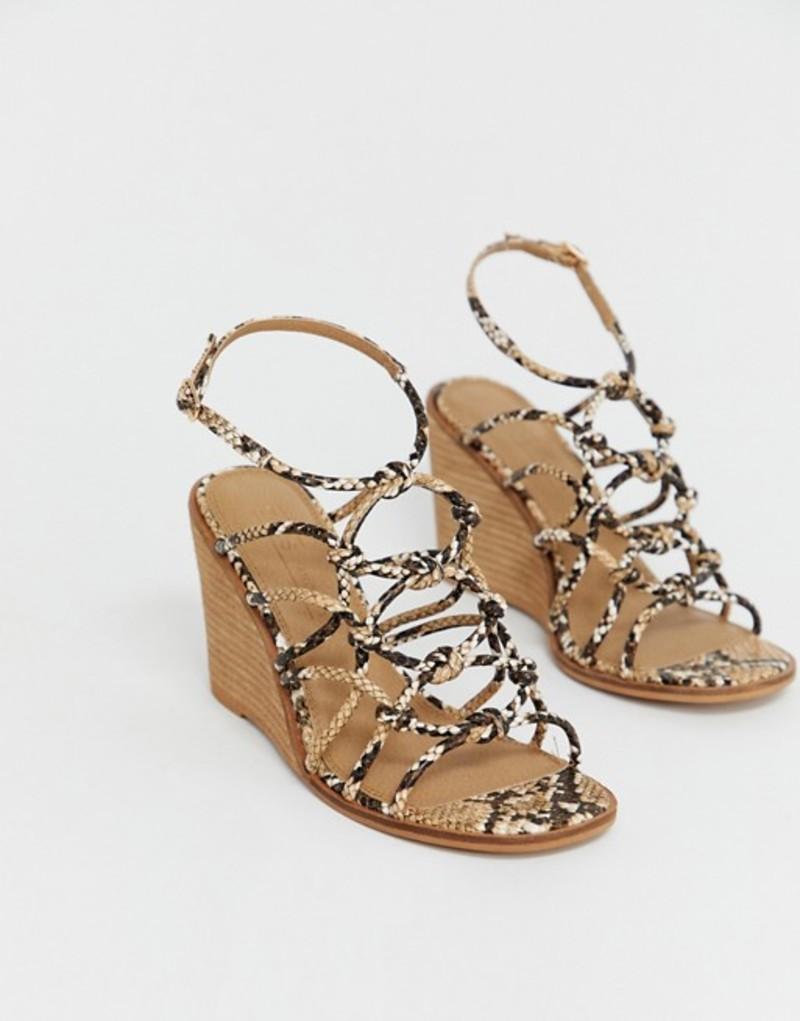エイソス レディース サンダル シューズ ASOS DESIGN Wide Fit Zoe wedge sandals Snake