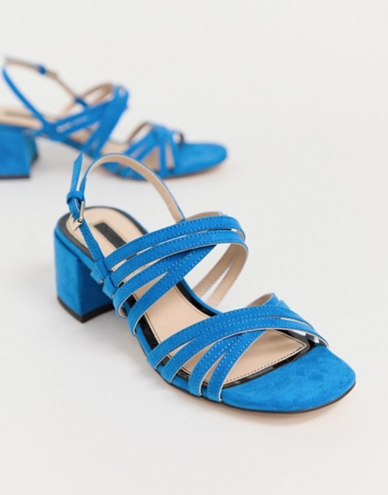 ミスセルフフリッジ レディース サンダル シューズ Miss Selfridge heeled sandals with multi straps in blue Blue