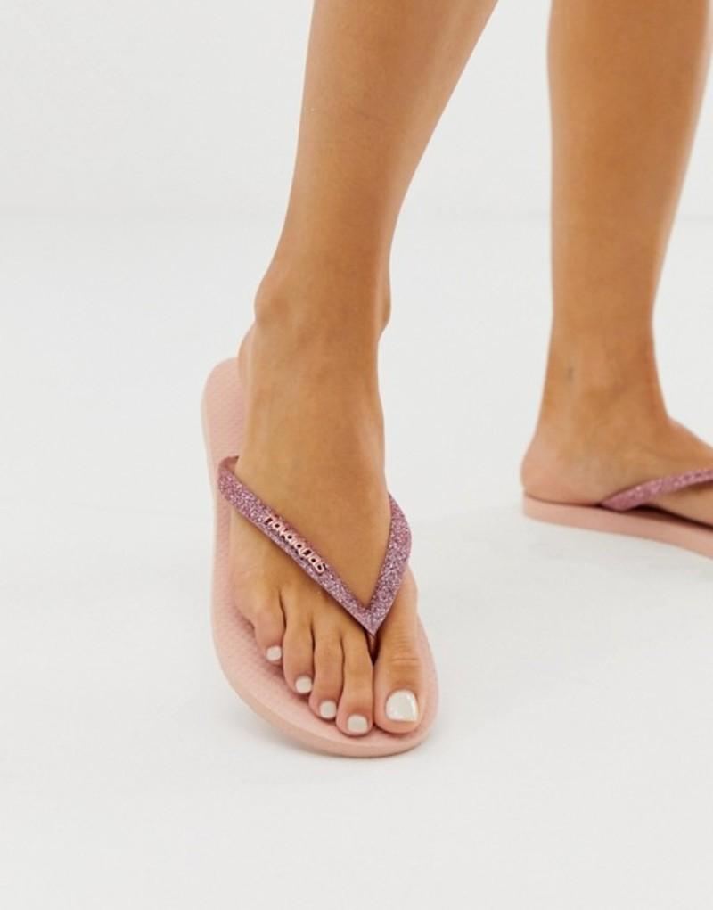 ハワイアナス レディース サンダル シューズ Havaianas Slim swarovski crystal flip flops in rose gold Ballet rose