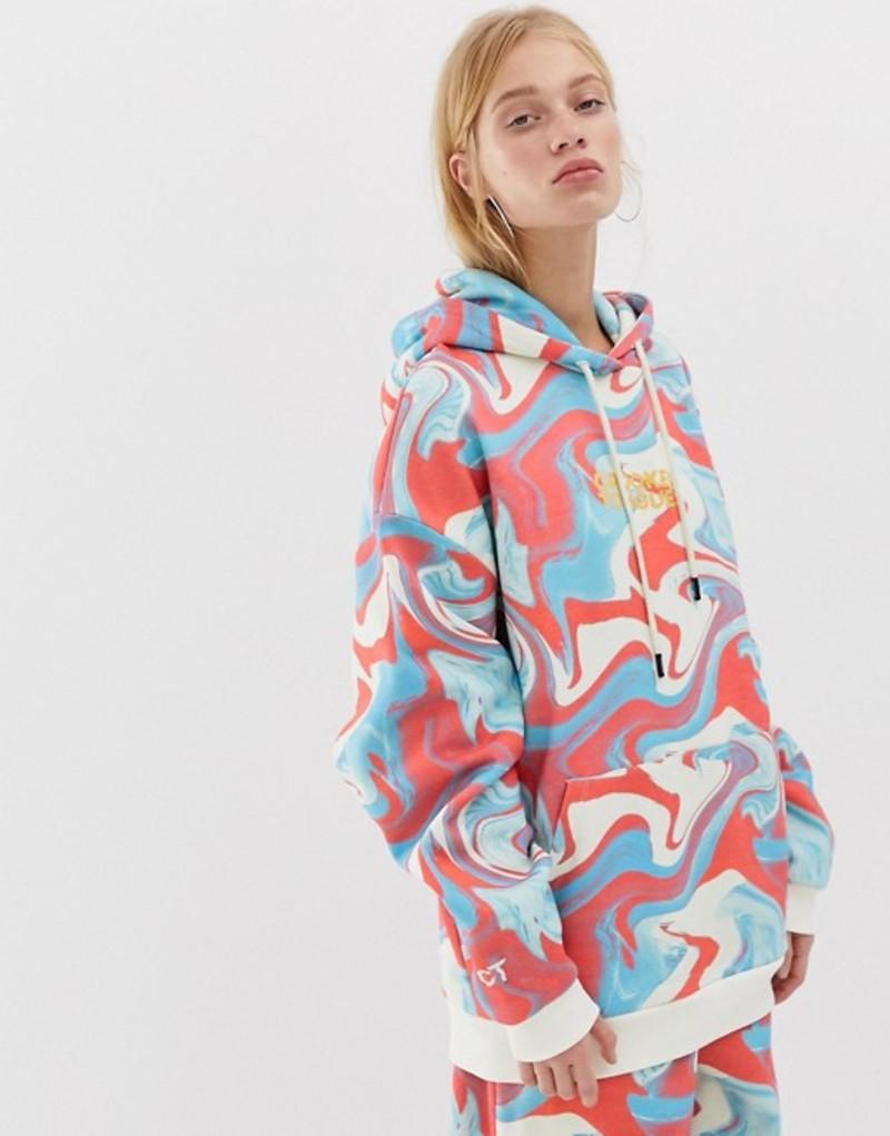 クルックドタン レディース パーカー・スウェット アウター Crooked Tongues oversized hoodie in marble print Multi