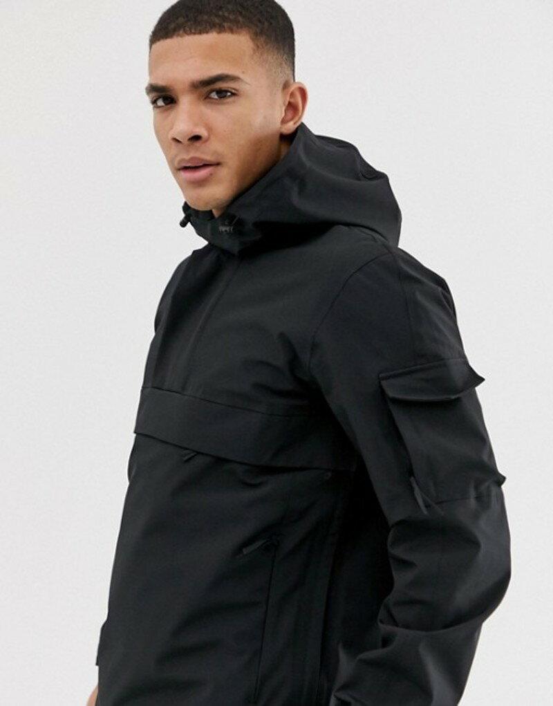 セレクテッドオム メンズ ジャケット・ブルゾン アウター Selected Homme technical overhead seam sealed jacket Black
