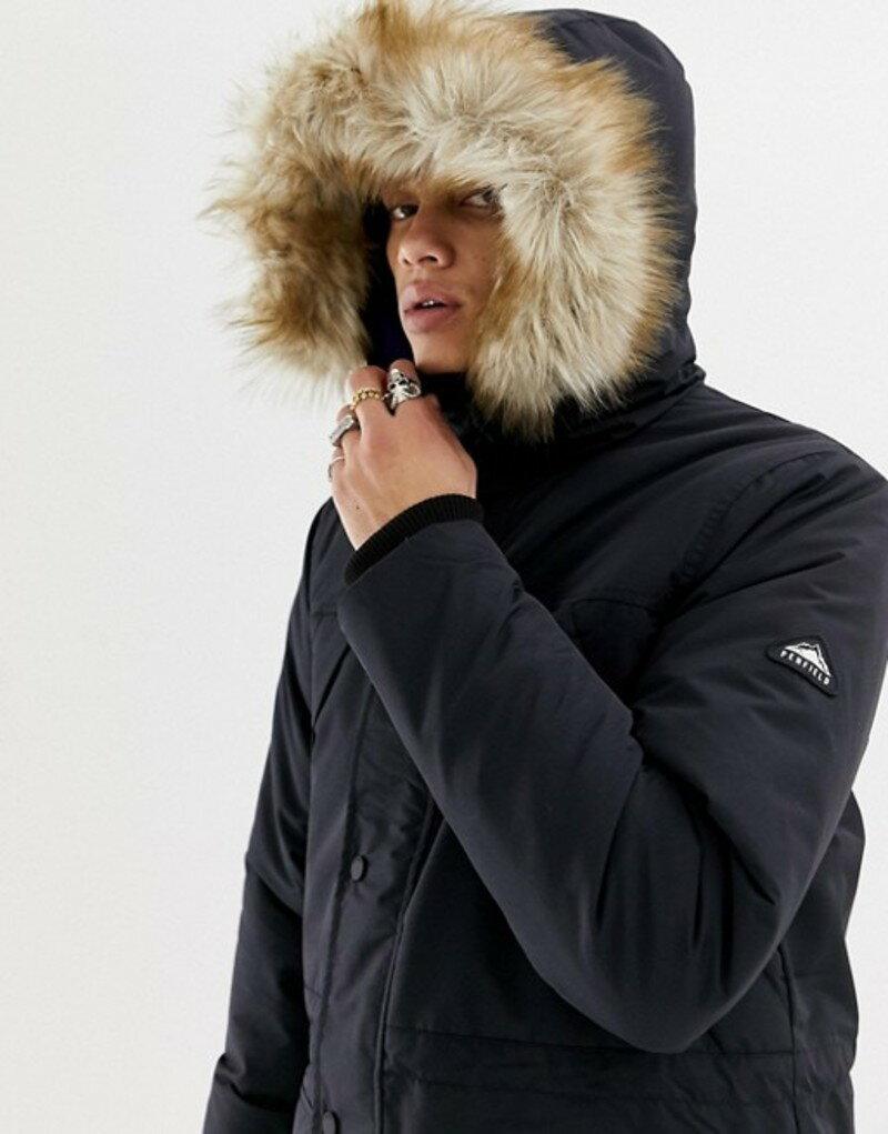 ペンフィールド メンズ パーカー・スウェット アウター Penfield Kirby insulated hooded parka detachable faux fur trim in black Black