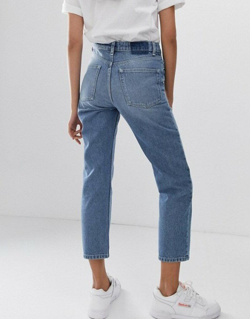 エイソス レディース デニムパンツ ボトムス ASOS DESIGN Recycled Florence authentic straight leg jeans in french blue wash Blue