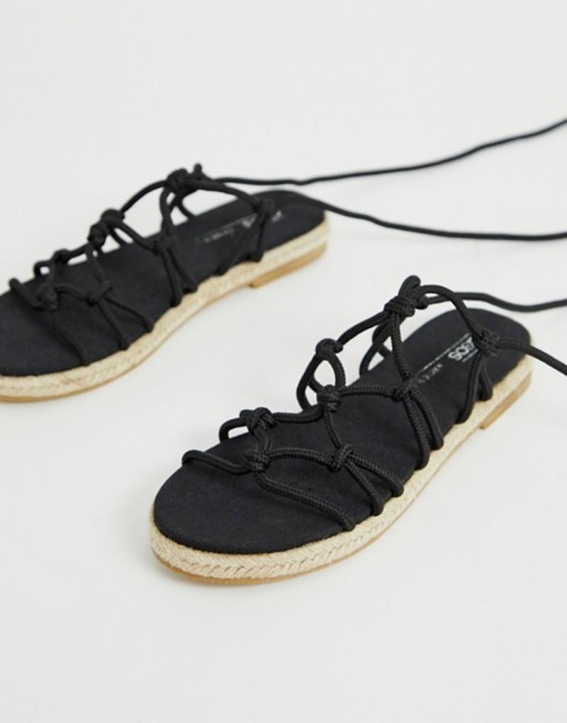 エイソス レディース サンダル シューズ ASOS DESIGN Jester knotted espadrille sandals Black