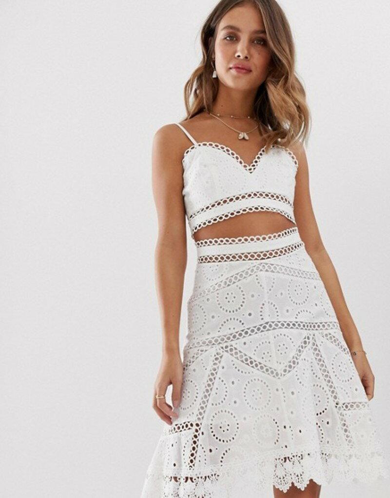 ホワイトサンド レディース ブラジャー アンダーウェア White Sand cutwork lace crop top in white White