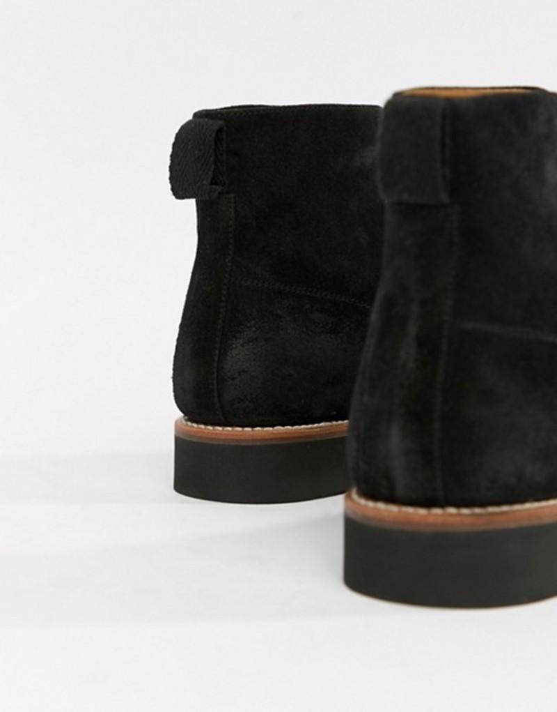 グレンソン メンズ ブーツ・レインブーツ シューズ Grenson Newton lace up boots in black suede Black