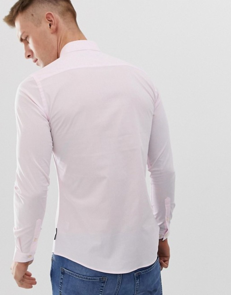 フレンチコネクション メンズ シャツ トップス French Connection plain poplin skinny fit stretch shirt Pink