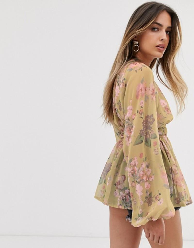 エイソス レディース シャツ トップス ASOS DESIGN long sleeve sheer smock top in vintage floral print Multi