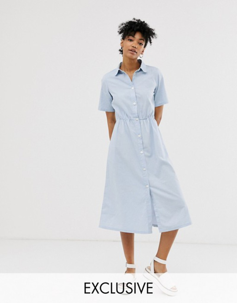 モンキ レディース ワンピース トップス Monki midi dress with button detail in light blue Blue