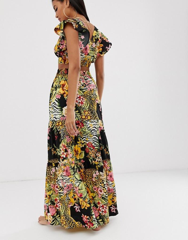 エイソス レディース スカート ボトムス ASOS DESIGN tiered ruffle beach maxi skirt in glam safari tropical print two-piece Safari tropical prin