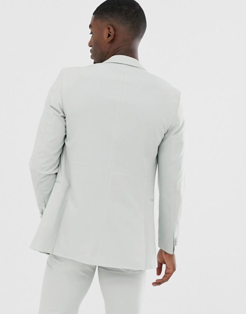 ジャック アンド ジョーンズ メンズ ジャケット・ブルゾン アウター Jack & Jones Premium relaxed fit double breasted suit jacket in mint Metal