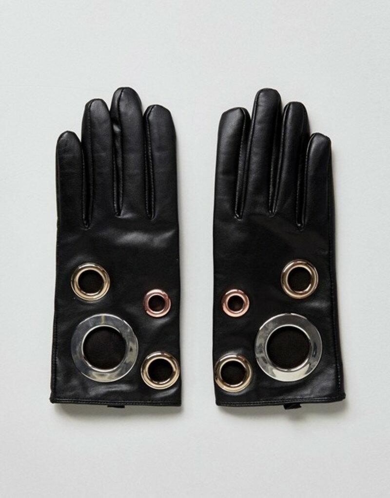 エイソス レディース 手袋 アクセサリー ASOS Black Leather Eyelet Glove With Touch Screen Black