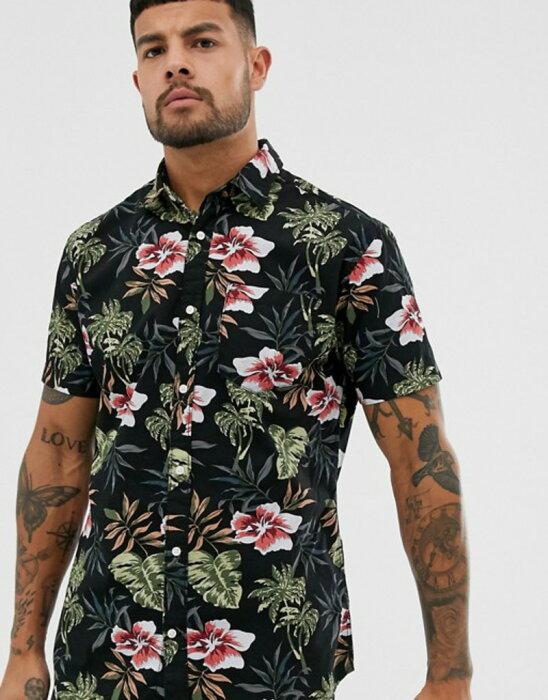 ジャック アンド ジョーンズ メンズ シャツ トップス Jack & Jones Essentials printed short sleeve shirt in black Black