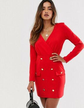 ユニークトゥエンティワン レディース ワンピース トップス Unique21 shift dress with gold buttons Red