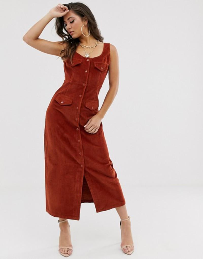 レディースファッション, ワンピース  ASOS DESIGN cord midi dress in conker Conker