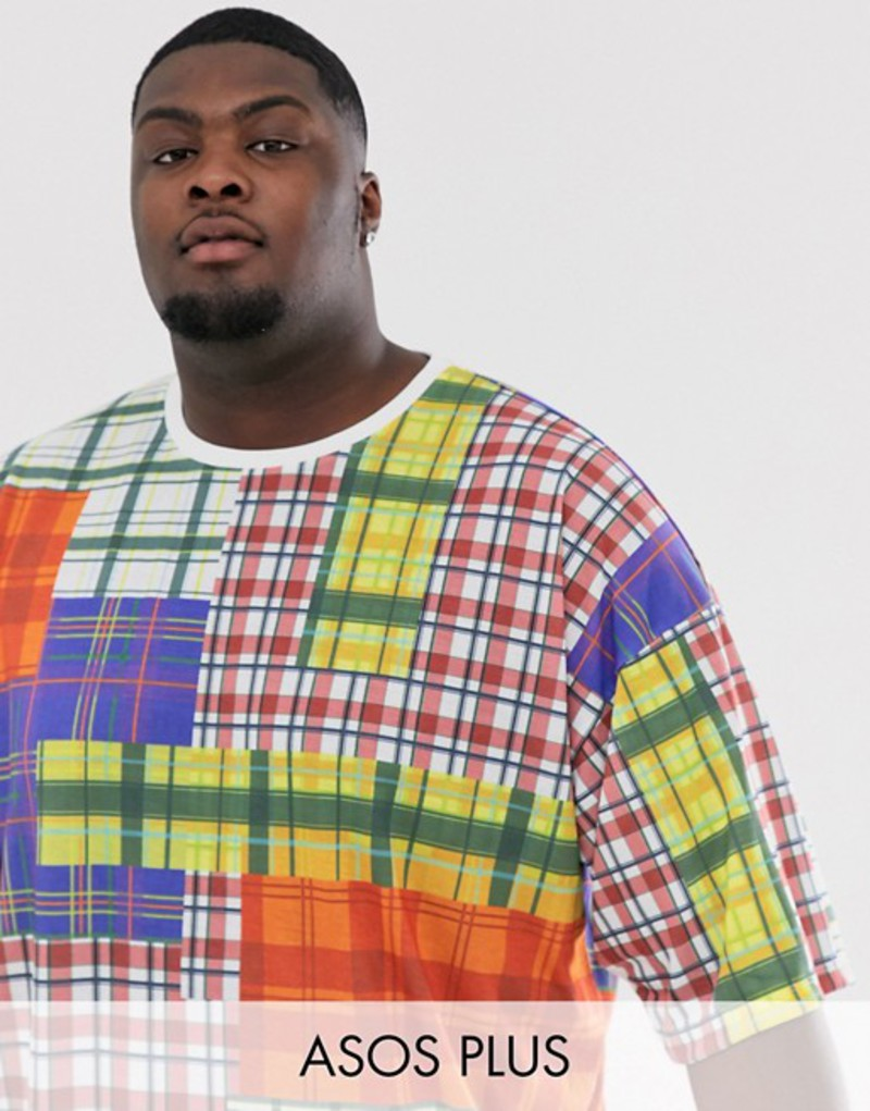 トップス, Tシャツ・カットソー  T ASOS DESIGN Plus oversized heavyweight t-shirt with all over check in textured fabric Multi