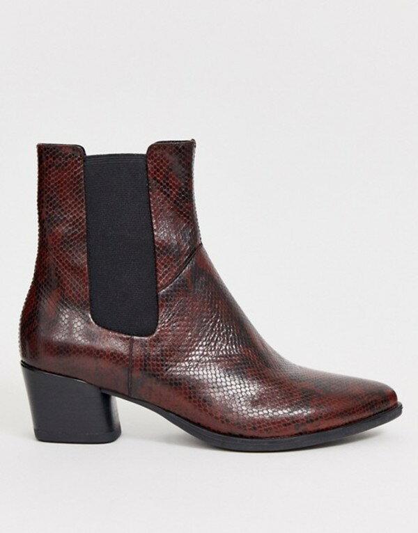 バガボンド レディース ブーツ・レインブーツ シューズ Vagabond Lara oxblood snake print mid heeled ankle boots Oxblood wine snake p画像