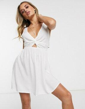 エイソス レディース ワンピース トップス ASOS DESIGN tie back beach sundress with twist front detail in white White