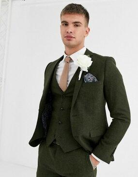 ハリー ブラウン メンズ ジャケット・ブルゾン アウター Harry Brown wedding tweed heritage slim fit suit jacket Green