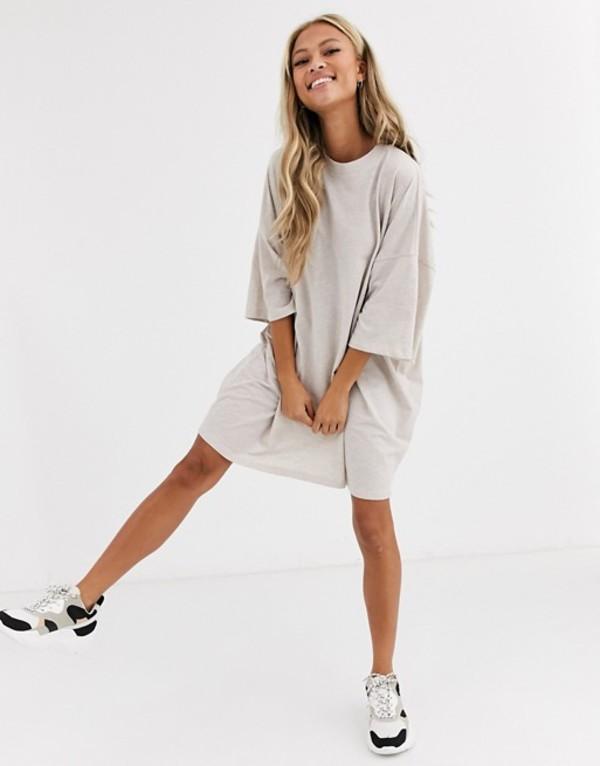 レディースファッション, ワンピース  ASOS DESIGN oversized t-shirt dress Oatmeal