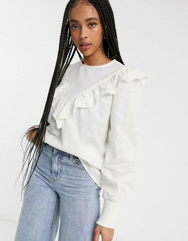 トップス, シャツ・ブラウス  Monki ruffle detail high neck blouse in white White