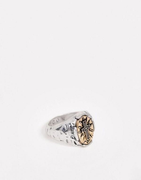 アイコンブランド メンズ 指輪 アクセサリー Icon Brand signet ring with cross detail in multi Multi